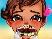 سحب عصب الأسنان للأطفال: baby moana at the dentist