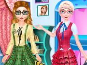 الاستعداد للذهاب الى المدرسة: frozen sisters back to school