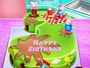 تزيين كيك اعياد الميلاد: peppa pig birthday cake cooking