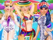 البنات الثلاثة حفل المسبح: princess pool party fashion