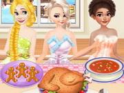 طبخ وجبات العشاء وصفات جميلة للعشاء: princesses cooking christmas dinner