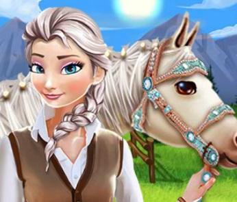 تنظيف الاسطبل وحصان السا في المزرعة والعناية به