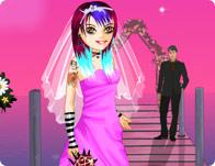 تلبيس فساتين زفاف ومكياج وقص شعر