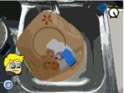 غسيل الصحون والفتاة الصغيرة والمطبخ