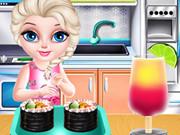 الطفلة السا طبخ السوشي