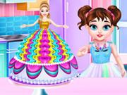 طفل تايلور طبخ كعكة الاميرة باربي